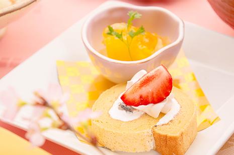 綾部の料亭 ゆう月 歓迎会 送別会 お花見に最適な春の会席料理 ロールケーキ