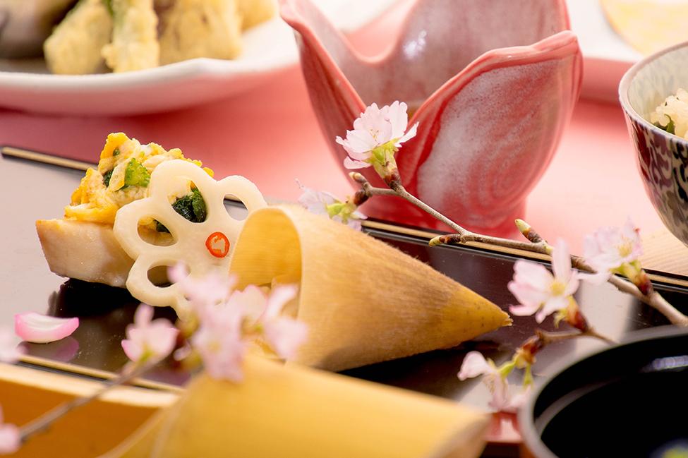 綾部の料亭 ゆう月 春の会席料理 歓迎会 送別会 お花見 鰆の菜種焼き ハマグリ