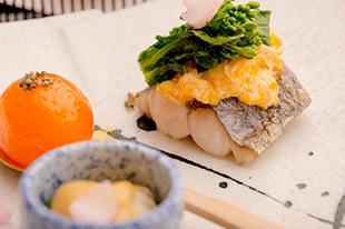 綾部の料亭 ゆう月 春の会席料理 焼き物 鰆の菜種焼き 玉子の味噌漬け