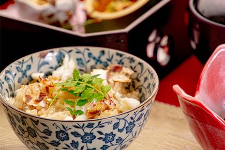 綾部の和食の店 ゆう月の冬の会席料理 御飯 鯛めし