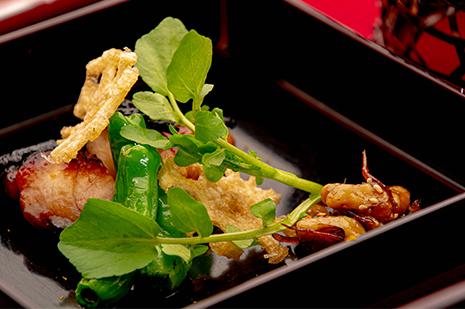 綾部の和食の店 ゆう月の冬の会席料理 鶏料理 上林鶏の味噌漬け