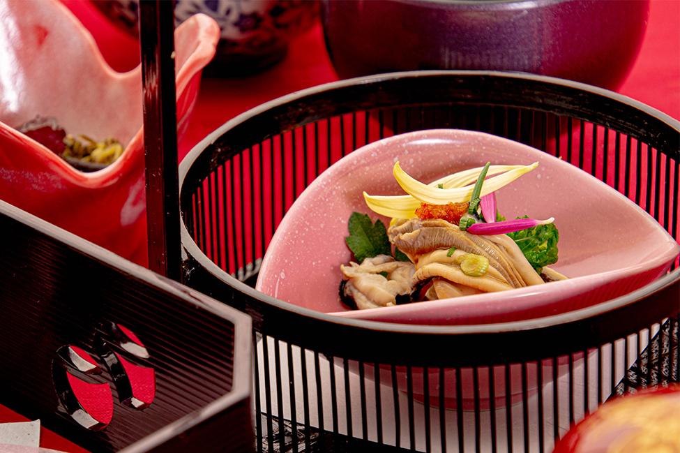 綾部の和食の店 ゆう月の冬の会席料理 酢物 カキ ポン酢