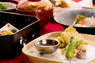 1月の会席料理 カキの天ぷら 広島産カキ