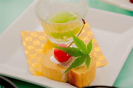 綾部の料亭 ゆう月 夏の会席 デザート スイーツ ロールケーキ