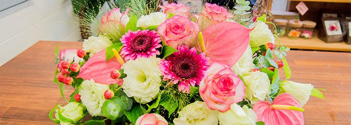 綾部 会席 ゆう月 花屋 ゆいまーる お祝い 誕生日 プレゼント テーブル装花 お花